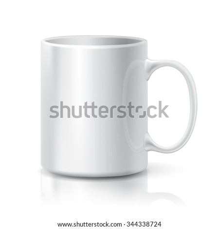 Realistic White Coffee or Tea Cup Isolated on White Background.  Design Template for Mock Up. - stock photo