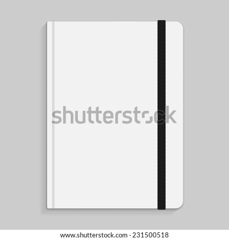 Realistic white copybook with elastic band bookmark. Diary author for office information. Concept design gray planner for college. Closed textbook. Abstract illustration on gray background - stock photo