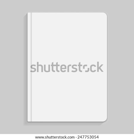 Realistic white copybook with elastic band bookmark. Diary author for office information. Concept design gray planner for college. Closed textbook. Abstract illustration on gray background. - stock photo