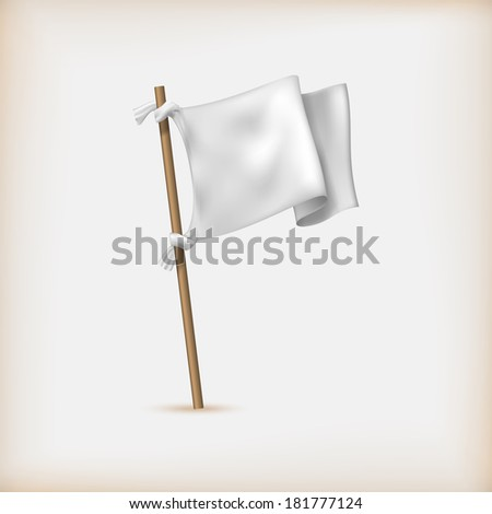 Realistic White Flag Icon. Surrender Concept. Banner Template. Raster Version - stock photo