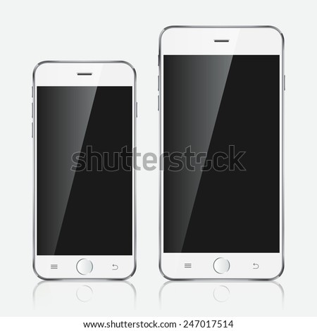 Realistic white mobiles phones with blank screen isolated on white background. Modern concept smartphone devices with digital black display.  - stock photo