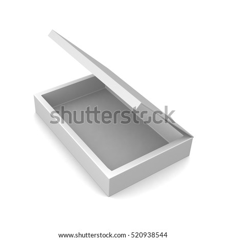 Realistic white open box isolated on a white background. 3d render
