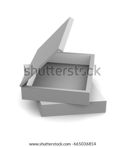 Realistic white open boxes isolated on white background. 3d illustration
