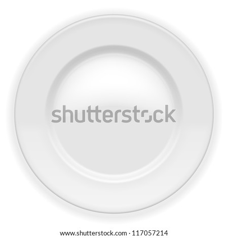 Realistic white Plate isolated on white. Illustration - stock photo
