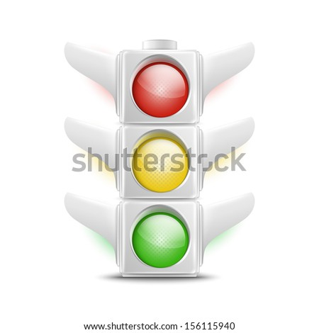 Realistic White Traffic Lights