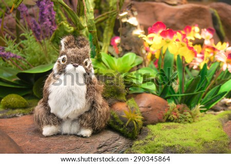 Realistic Wild White-Brown Rabbit, Animal Replica Prop Fur Toy, for Decoration, Selective Focus on Blur Background. [Original Collection]