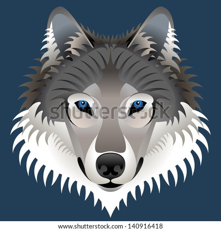 Realistic wolf's face. Graphic wolf head front view isolated on dark blue. Qualitative illustration for circus, zoo, wildlife, nature, etc. - stock photo