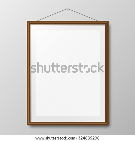 Realistic wooden photo frame on wall illustration - stock photo