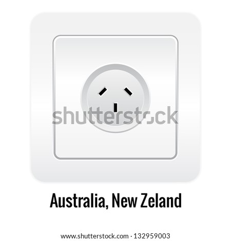 Realistick socket illustration isolated on white. Australia, New Zeland type.