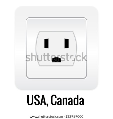 Realistick socket illustration isolated on white. USA, Canada type.