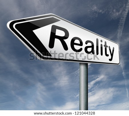 reality check for real and realistic goals road sign arrow text - stock photo