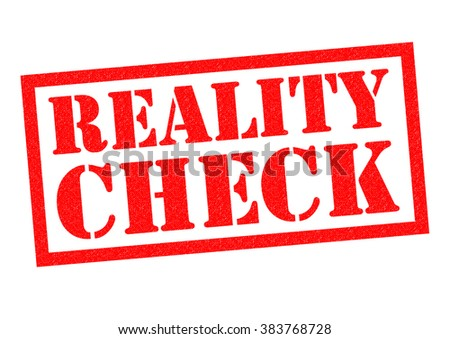 REALITY CHECK red Rubber Stamp over a white background. - stock photo
