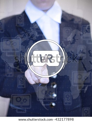 reality helmet glasses technology future button hand business engineering concept work company financial analysis on off costume number map computer smartphone - stock photo