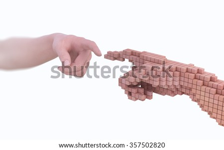 Reality vs simulation - real human hand and it's virtual version made out of voxels