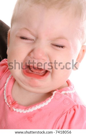 REALLY unhappy baby - stock photo