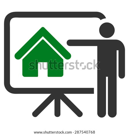 Realtor icon from Business Bicolor Set. Glyph style: bicolor flat symbol, green and gray colors, rounded angles, white background.