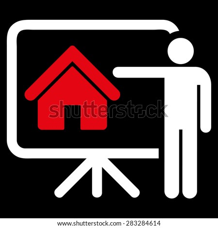 Realtor icon from Business Bicolor Set. Glyph style: bicolor flat symbol, red and white colors, rounded angles, black background.
