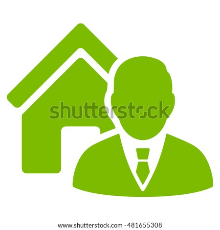 Realtor icon. Glyph style is flat iconic symbol, eco green color, white background.