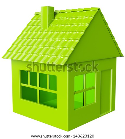 Realty and real assets: green house isolated on white