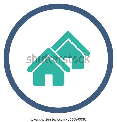 Realty glyph icon. Style is bicolor flat circled symbol, cobalt and cyan colors, rounded angles, white background. - stock photo