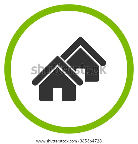 Realty glyph icon. Style is bicolor flat circled symbol, eco green and gray colors, rounded angles, white background. - stock photo