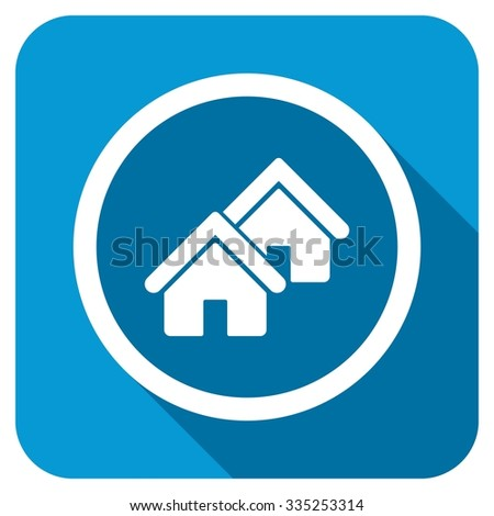 Realty longshadow icon. Style is a blue rounded square button with a white rounded symbol with long shadow. - stock photo
