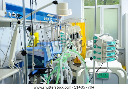 Reanimation ward with modern equipments - stock photo