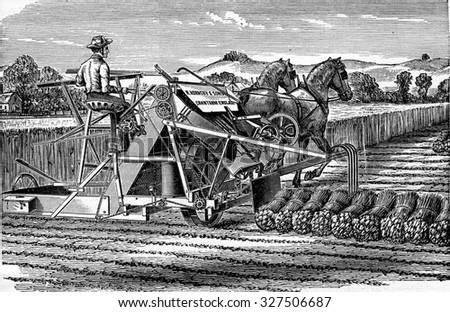 Reaper-binder MM. Hornsby and son, vintage engraved illustration. Industrial encyclopedia E.-O. Lami - 1875.