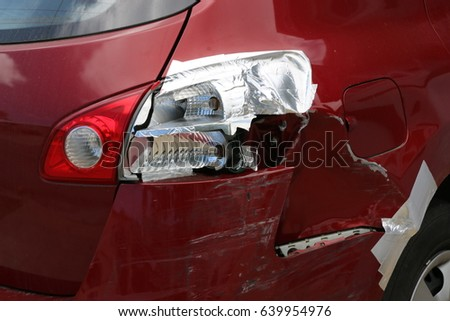 Rear bumper tail lights red car stock photo 639954976 shutterstock rear bumper and tail lights of a red car following a car accident bumper is aloadofball Image collections