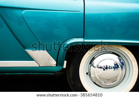 rear end of an old car - stock photo