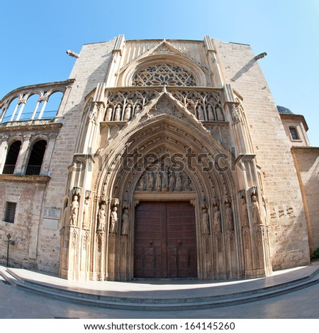 Rear entrance of the Cathedral, Valencia, Spain. - stock photo