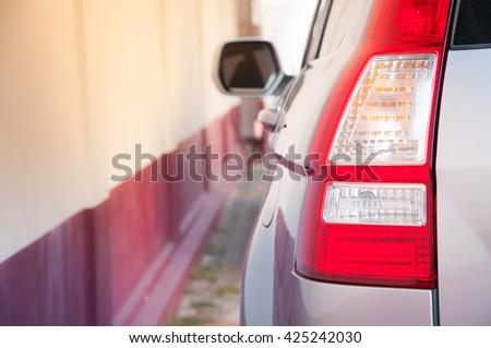 Rear light of a modern car - stock photo