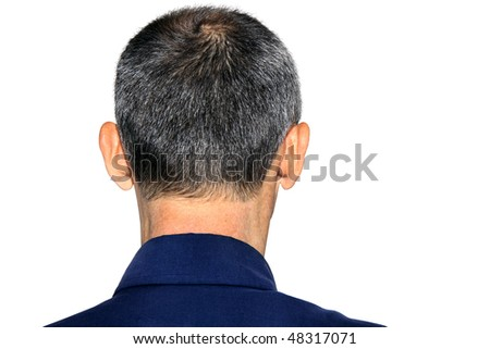 rear of a male head on a white background