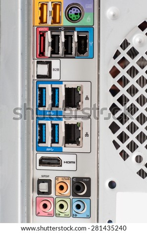 rear panel connectors - stock photo