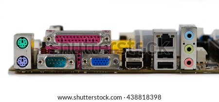 Rear panel of computer component - stock photo