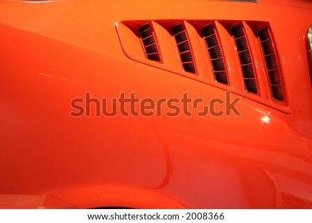 rear panel of 65 mustang fastback - stock photo