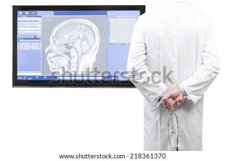 rear view image of doctors with stethoscope looking at  front magnetic resonance image (MRI) of the brain on screen isolated on white background with clipping path - stock photo