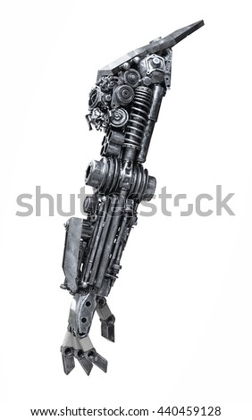 Rear view metallic robot hand made from machine part isolated on white background with clipping path