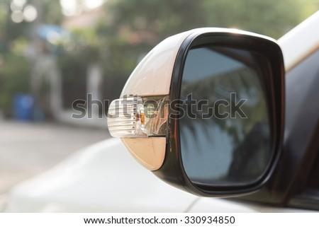 Rear-view mirror is broken - stock photo