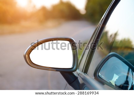 Rear View Mirror with isolated background - stock photo