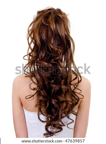 Rear view of a bride with  curly wedding hairstyle - isolated on white