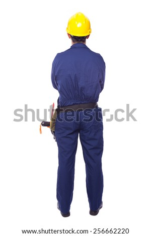 Rear view of a contractor standing on white background - stock photo