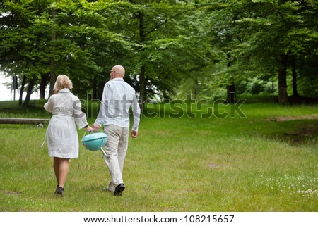 Rear view of a couple in casual clothing walks with a portable barbeque in forest park