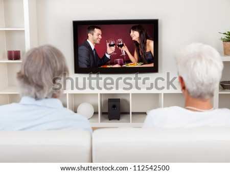 Rear view of a couple watching television with a scene on the screen of a young man and woman celebrating - stock photo