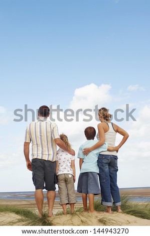 Rear view of a family standing on sand and looking at view on beach - stock photo