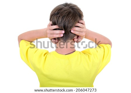Rear view of a Kid with cover Ears Isolated on the White Background