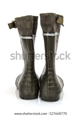 Rear view of a pair of Wellington boots on a white background - stock photo