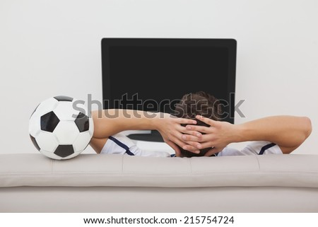 Rear view of a soccer fan watching tv - stock photo