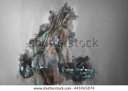 Rear view of a sportive woman workout with a barbell Background drips