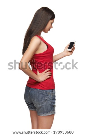 Rear view of a woman with mobile phone, over white background - stock photo